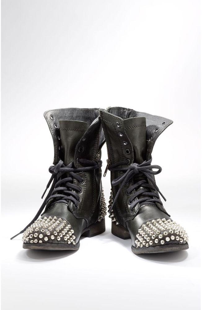 ef6c1075059 Steve Madden Tarnney Black Leather Studded Combat Biker Boots ...