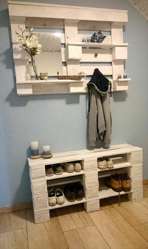 Schuhregal Garderobe aus Paletten – Flur