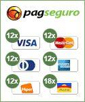 Este site aceita pagamentos com Visa, MasterCard, Diners, American Express, Hipercard, Aura, Elo, PLENOCard, PersonalCard, BrasilCard, FORTBRASIL, Cabal, Bradesco, Itaú, Banco do Brasil, Banrisul, Banco HSBC, Oi Paggo, saldo em conta PagSeguro e boleto.