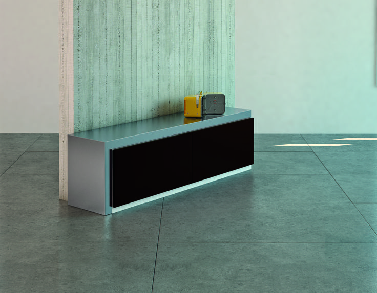 MOVIMENT-0 LINE, Model 360 (closed). #wooden #TVstand in lacquered MDF #wood. Lacquered #metal covers and rotating #inoxsteel surface. Ronda Design.