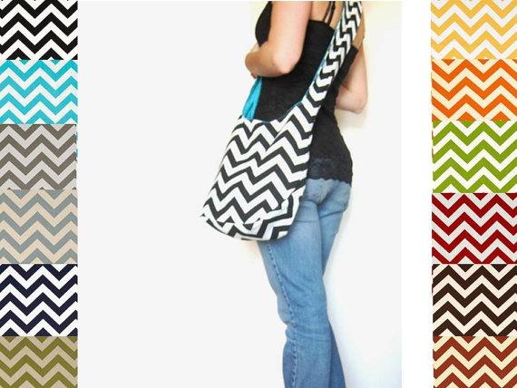 Chevron Purse Boho Bag Cross Body Hobo Bag by SmiLeaGainCreations, $40.00
