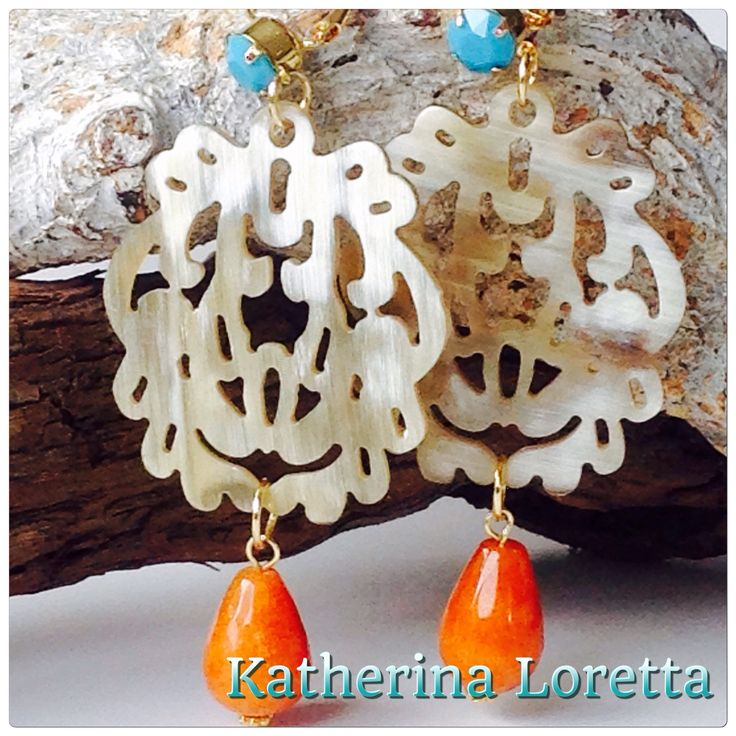 Earrings#bufelohorn#caeprneool#swarovski#gold-plated
