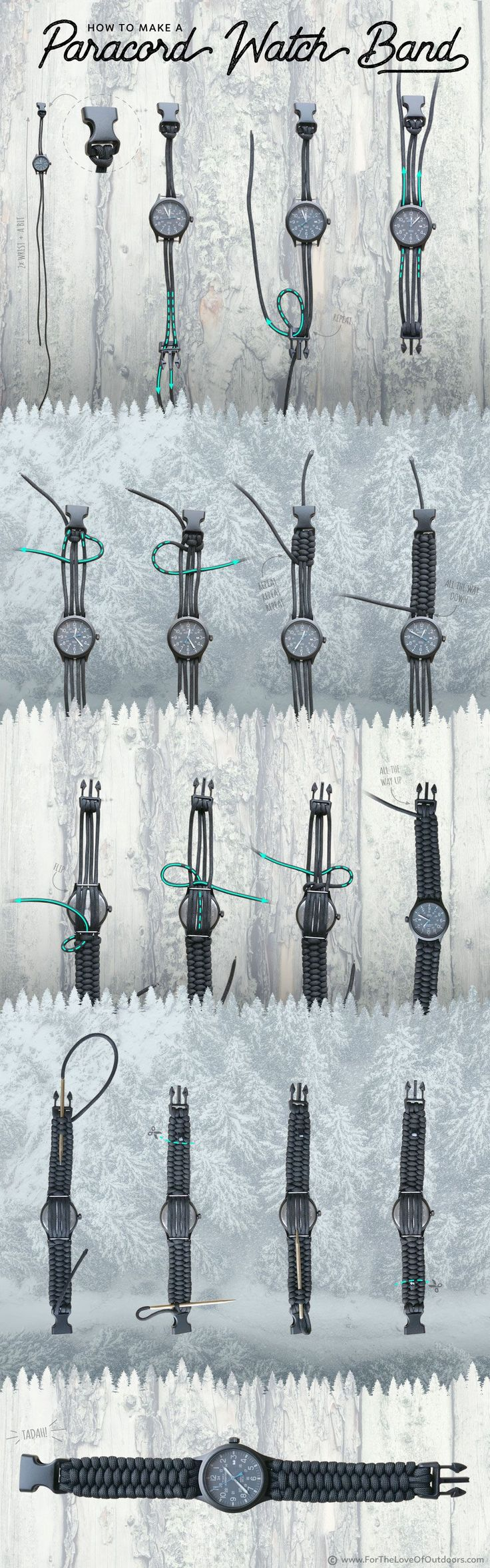 Paracord Project: How to make a paracord watch band - a beginner friendly infographic tutorial
