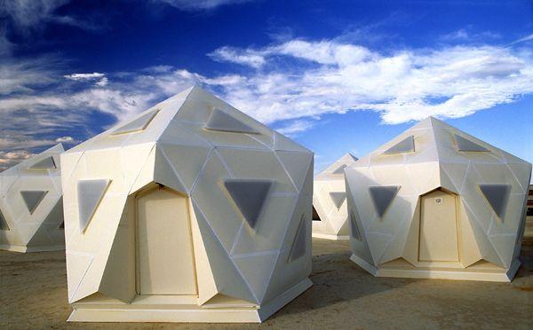 """icosahedron pods or """"icopods"""" at burning man."""