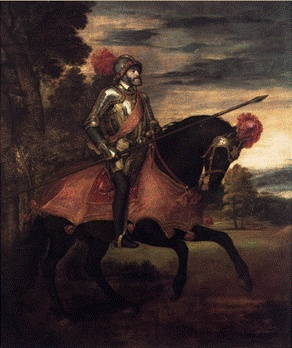 Tiziano Vecellio, 카를 5세, 1548  인물의 특성을 꿰뚫는 초상화와 특유의 해석이 담긴 종교화로 회화의 폭을 넓혔다고 평가받음  당시 최고의 권력자인 카를 5세에 대해 조사해보고 그 배경도 알아본다.  카를 5세는 전제적 태도로 가톨릭 제후들의 반감을 사 고립에 빠진 후, 루터주의의 정치적 권리를 승인하였다. 초상화가 그려진 시기는 프랑스와의 싸움이 1544년 크레피조약에서 일단 종결되었고, 오스만 투르크제국과도 휴전이 성립하여, 간신히 분쟁에서 벗어나 슈말칼텐 전쟁에서 프로테스탄트를 격파하였다.    초상화의 전체적인 분위기가 어두운 상태에서 노을이 지는 듯한 느낌을 주는데 바닥도 선명하지 않고 흐릿하게 표현되어 꿈 속에 있는 듯한 느낌을 준다. 표정도 밝지 않지만 강인한 모습 또한 찾기 힘들다.     중세적 황제 이념의 마지막 대표자인 카를5세의 남은 여생을 예언이라도 하듯이 어둡고 칙칙한 분위기가 초상화를 더욱 값지게 만들고 있다고도 생각한다.