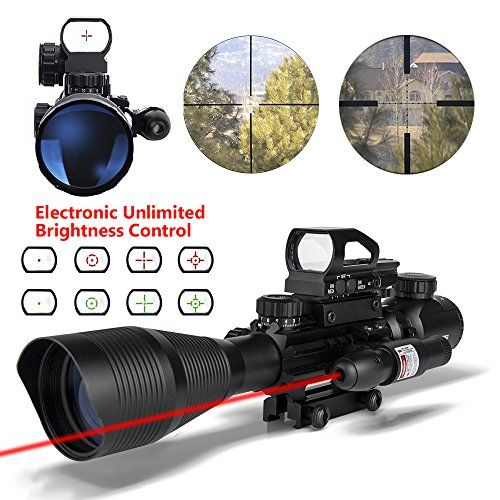 Ar15 Scopes 4-12x50EG Dual Illuminated Tactical Rifle Scope with Holographic 4 Reticle Red and Green Dot Refle Sight and Red Laser Sight for 22&11mm Weaver/Picatinny Rail Mount (12 Month Warranty) - http://our-shopping-store.com/camera-photo-products.asp