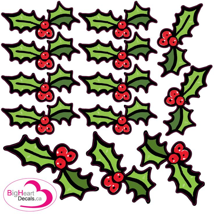 Christmas Holly from Big Heart Decals Inc. Made in Canada. Fabric stickers or wall decals for nursery or kids playrooms. Sticks on walls, windows and flat surfaces. Movable, removable, no residue. Price: $15.00 - 1 square foot sheet