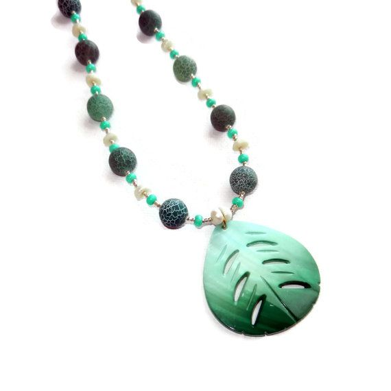 Teal Turquoise and Pearl Beaded Necklace with by CloudNineDesignz