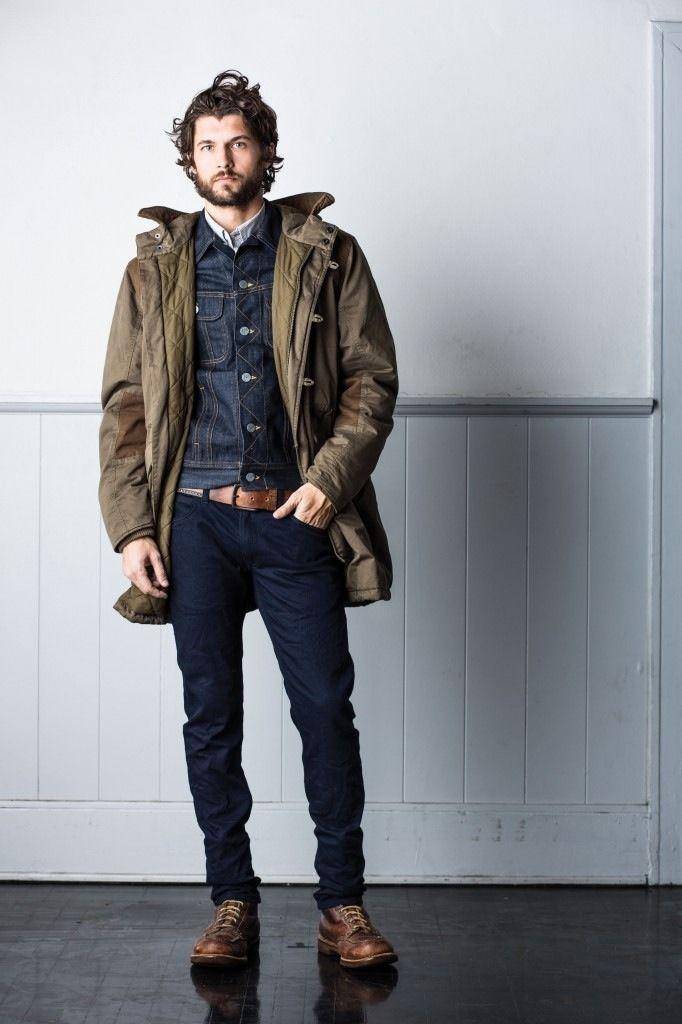 ruggedmenswear:  Tremendous look from Lee Jeans.  I love that coat and denim jacket.