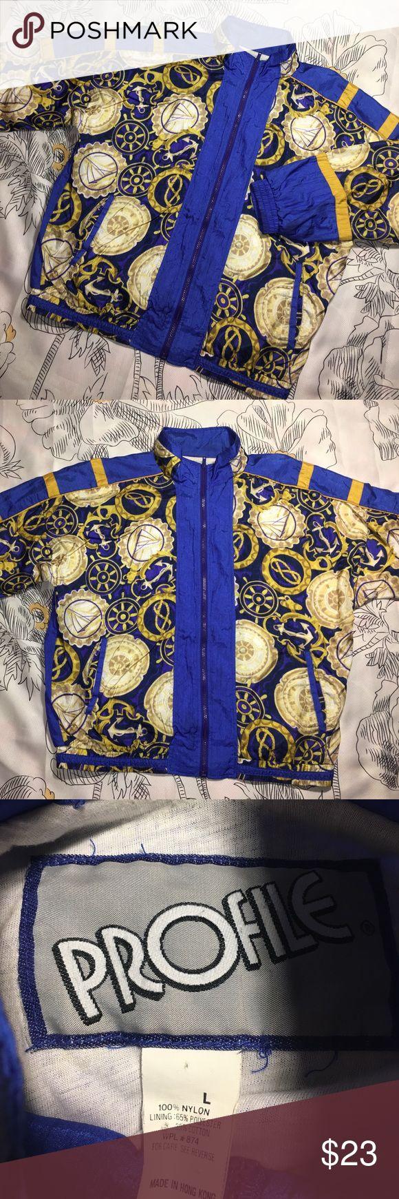 Vintage Retro Versace style Windbreaker Jacket Size Large - excellent vintage jacket profile Jackets & Coats Windbreakers