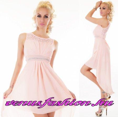 Elegáns alkalmi halvány rózsaszín csipkés sifon női ruha