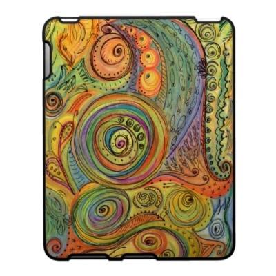 Colorful Doodle iPad Case  by Ilene Price Design