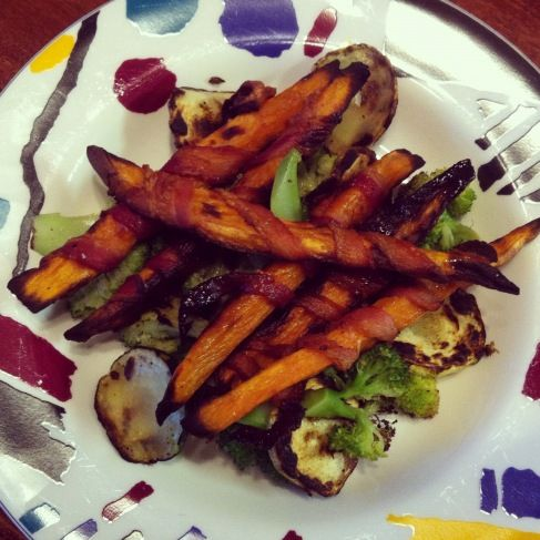 Bacon Wrapped Cinnamon Sweet Potato Fries from http://lemonslyme ...