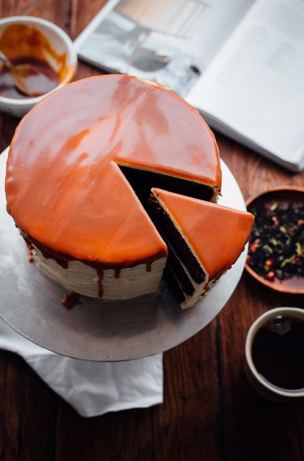 London Fog Cake. Three layer chocolate cake filled with earl grey buttercream and topped with salted caramel