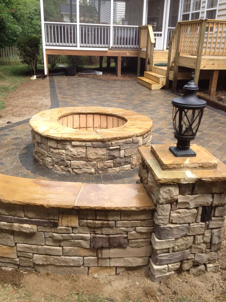 Charlotte, NC Area Paver Patio With Masonry Firepit, Stone Columns And Seat  Wall. We Also Modified The Existing Deck. | Pinterest | Stone Columns,  Charlotte ...