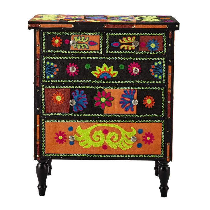 Wood and jute chest of drawers, multicoloured W 75cm