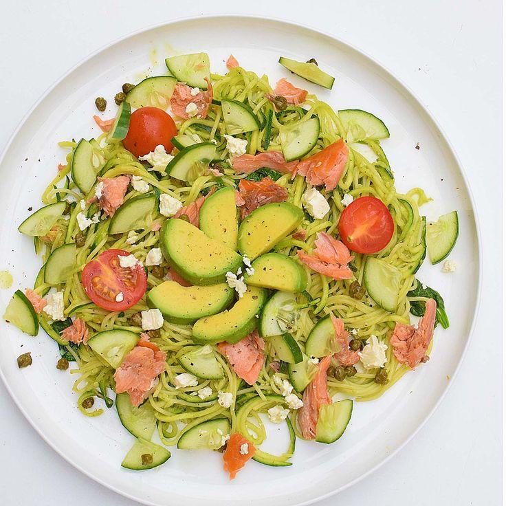 Family Meal: 'Good Fats' Hot-Smoked Salmon Pesto Zoodles  #dreamingofalmonds #healthy