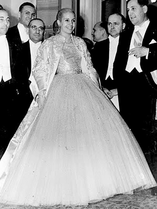 The First Lady of Argentina, Eva Peron, attends the inaugural ball wearing Dior.