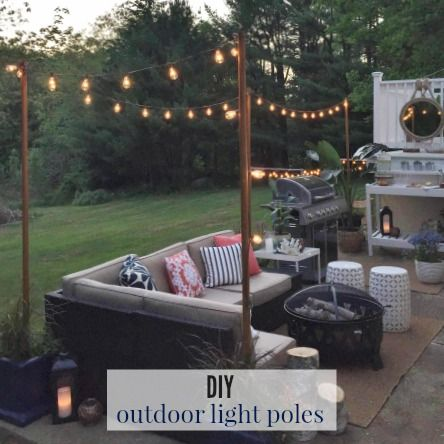 Outdoor Patio Ideas With Fire Pit String Lights