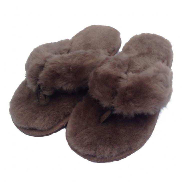 Deluxe Sheepskin Slippers for Indoor Use Ladies Toe-Post Slip-on Sheepskin Slipper Lightweight Rubber Sole Sheepskin Lining and Cuff Colour Mink Size