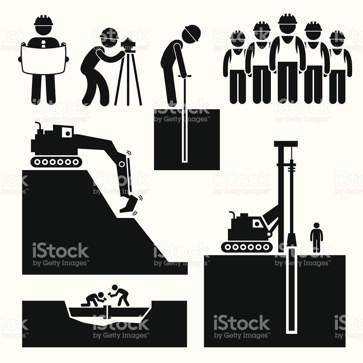 A Set Of Human Pictogram Representing Construction Workers