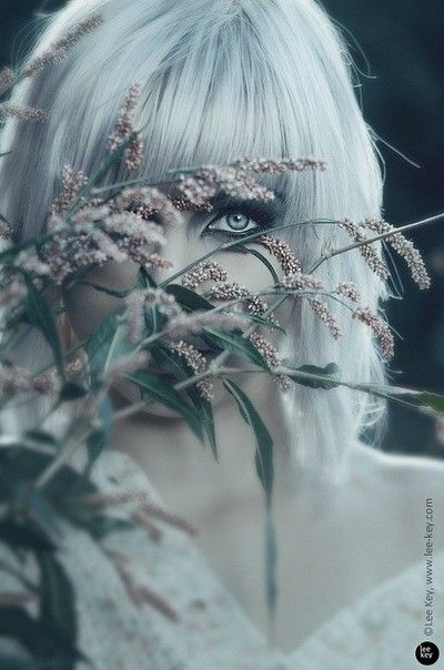 Silver Hair, Sky Blue Eyes, and Light Pink Flowers!!!