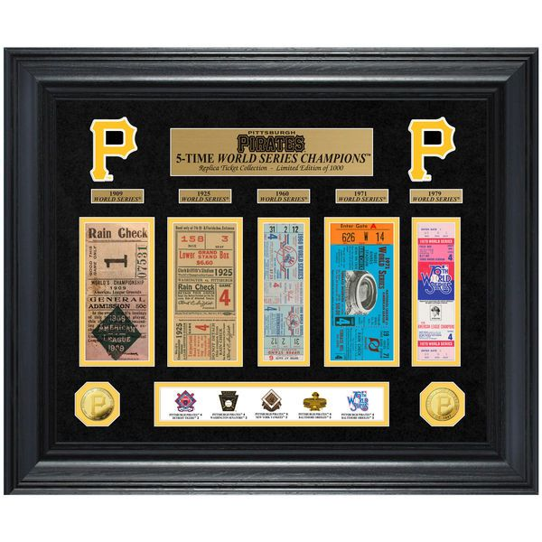 """Pittsburgh Pirates Highland Mint 24"""" x 20"""" 5-Time World Series Champions Deluxe Coin & Ticket Collection Photo Mint - $199.99"""