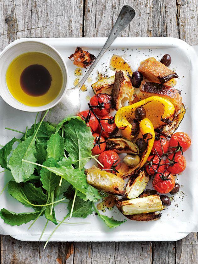 tray-baked panzanella salad