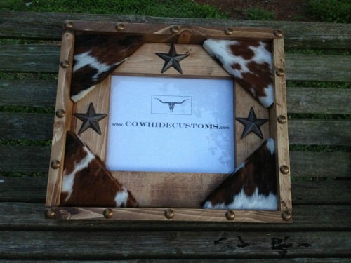 Wood 8x10 Photo Picture Frame Cowhide Star Western Decor Made in USA | eBay