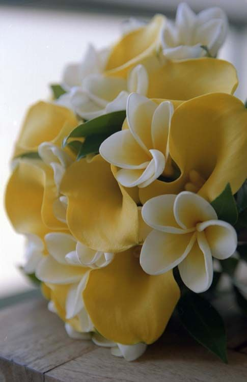 yellow and white tropical exotic bouquet with plumeria and calla lilies