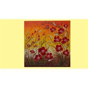 """Quadri floreali """" Fiori rossi rampicanti """"  Materico acrilico spatolato su tela, con glitter, graniglie, perline. Il quadro floreale rappresenta dei fiori rossi astratti, aggrappati a steli rampicanti e fiorellini spighe bianchi. I colori sono caldi e anche terra, ideali per un arredamento dai toni luminosi e armoniosi."""