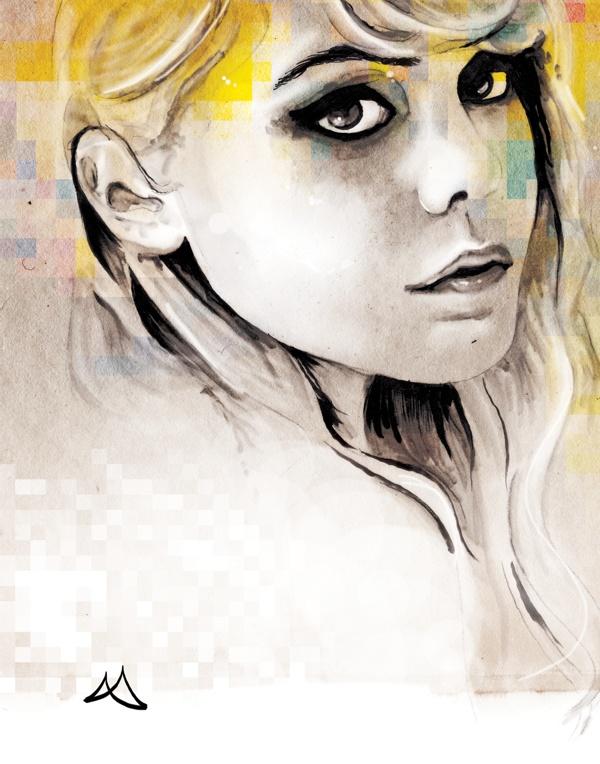 Portraits . Encre by Marie-Anne C. Duplessis, via Behance