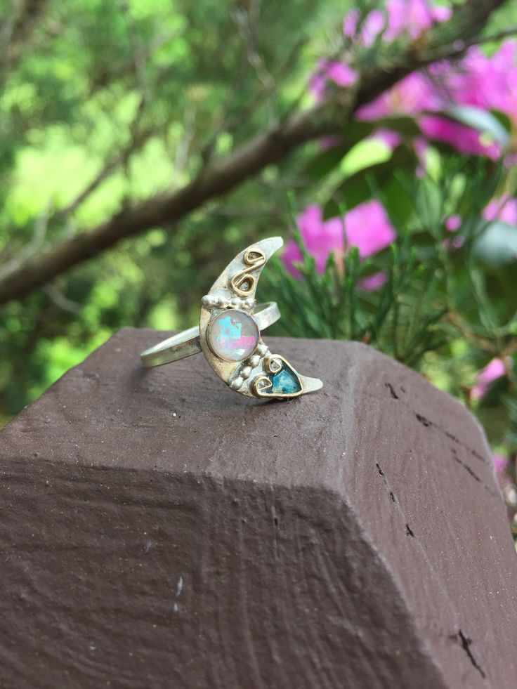 Silver Moon Ring Size 8 3/4 Crescent Moon Ring Lunar Ring Gypsy Ring Gift For Her Rings Sterling Silver Ring Hippie Gypsy Witchy Rustic by PixieStixDesigns on Etsy