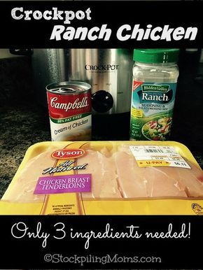 Crockpot Ranch Chicken is amazing and you only need 3 ingredients! Serve with mashed potatoes and corn casserole