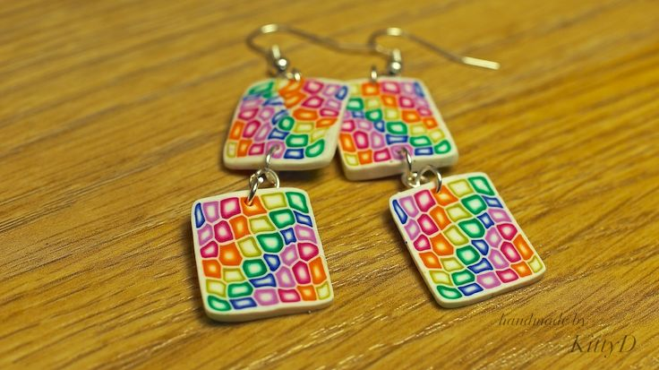 polymer clay rainbow earrings