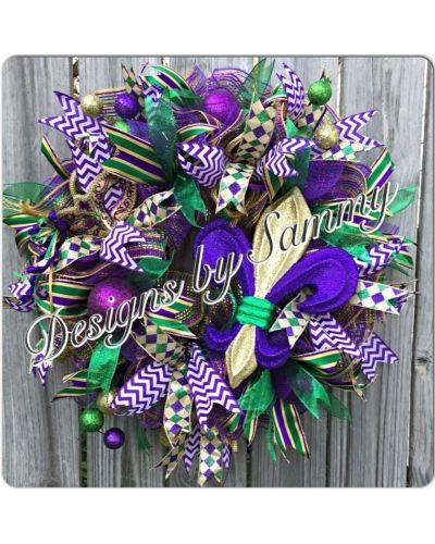 Mardi Gras Bliss Wreath | CraftOutlet.com Photo Contest - by Designs by Sammy