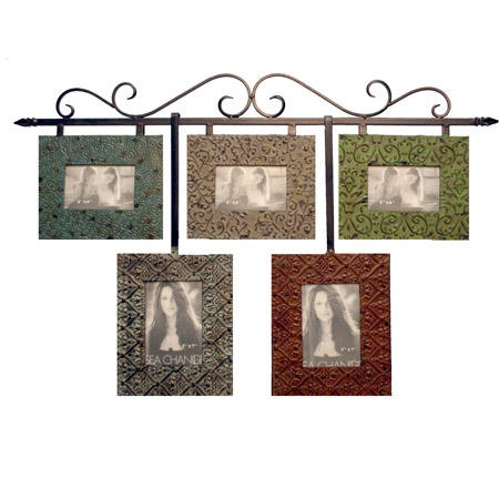 collage picture frame set with iron hanging rod five openings vip mh969