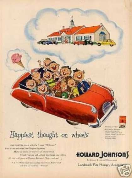 Love This Howard Johnsons Add With Umpteen Kids In The Backseat Of Car And Restaurant AdVintage