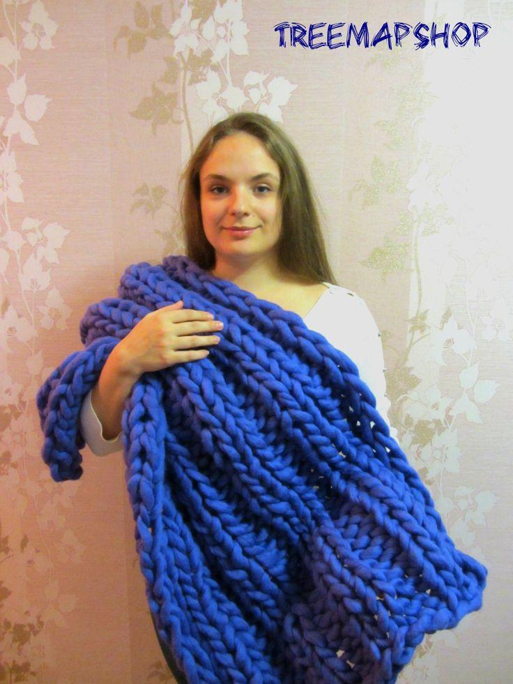 Super Chunky Merino Blanket 24x40 inches 60x100 cm Wool Merino Blanket Knit Bulky Blanket - pinned by pin4etsy.com