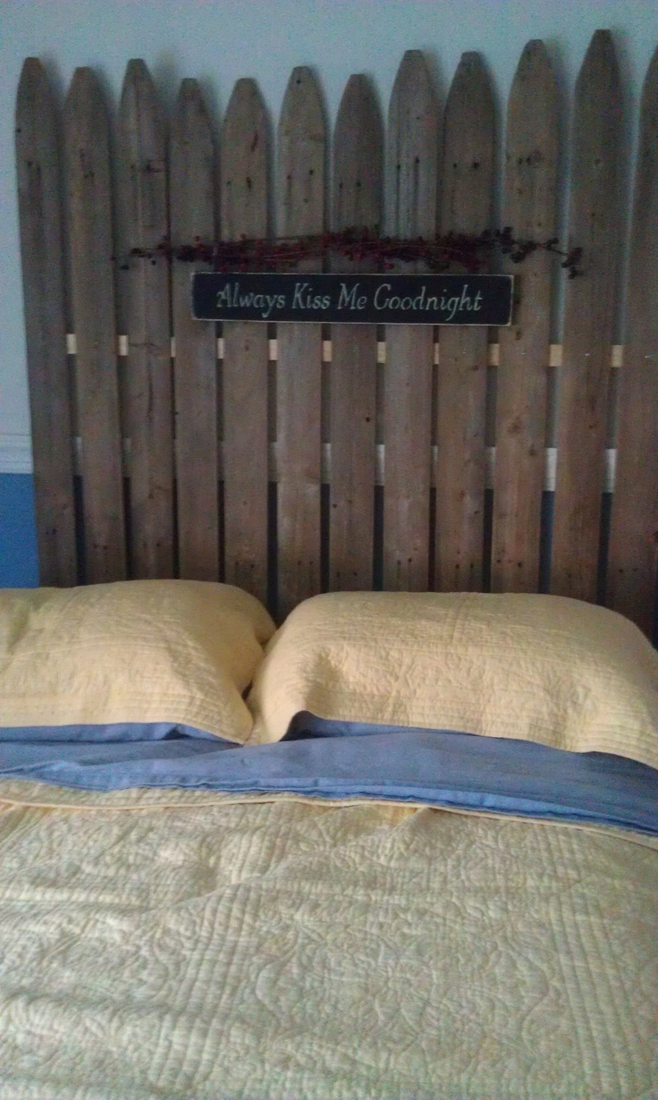 """FINALLY made the """"ol' fence headboard"""" I've been yearning to make. I didn't grab as many boards as I should've, but with the scrubbin' 'n' cleanin' involved, this will work. I SCRUBBED with water and dish soap first, let it dry, then sprayed with """"krud kutter"""" to kill and clean the mold. Had to run out and get some 1x2 boards and screws. The new wood should've been painted to match, but this is a weekend project I needed done!"""