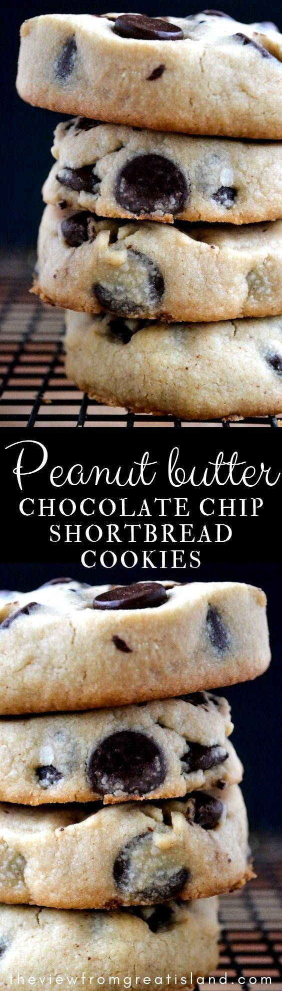 Erdnussbutter Chocolate Chip Shortbread Cookies si…