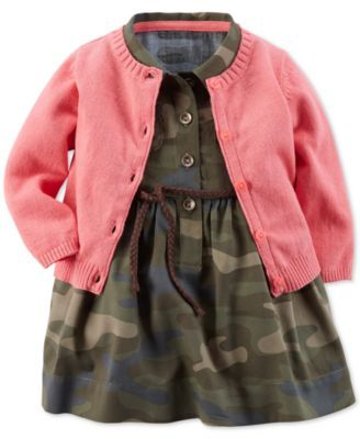 Carter's Baby Girls' Woven Camo Dress & Cardigan Set