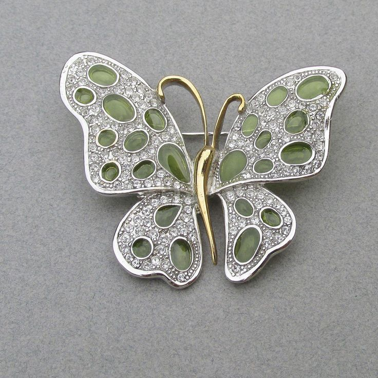 BIG Signed Nolan Miller Vintage Lime Green Plique' a Jour Enamel Silver Tone Rhinestone BUTTERFLY Pin