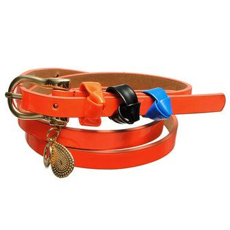 Candy Color Faux Leather Water-drop Knot Metal Buckle Waistband Skinny Belt - US$1.99 sold out