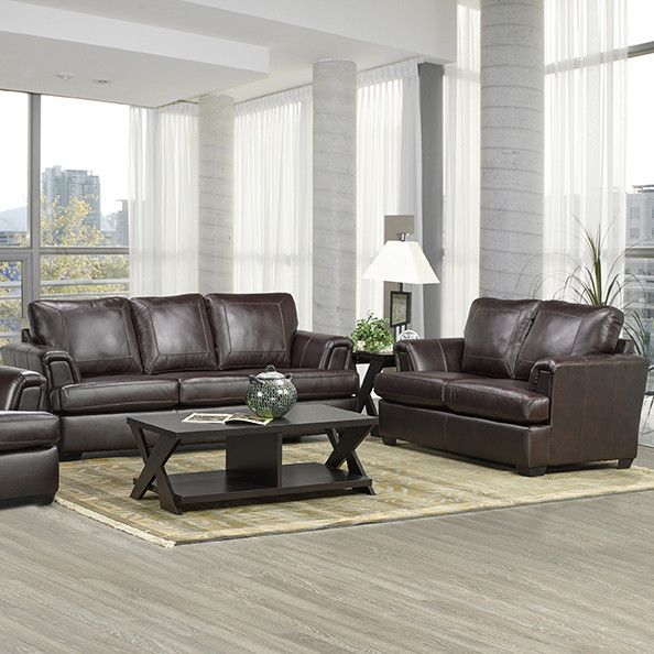Royal Cranberry Italian Leather Sofa and Loveseat Set