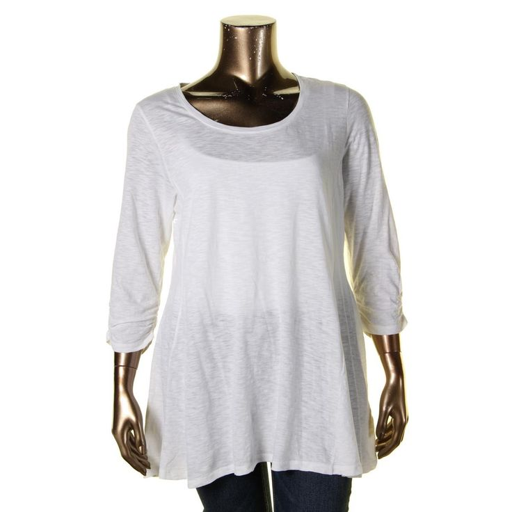 Style & Co. Womens Burnout 3/4 Sleeves Casual Top