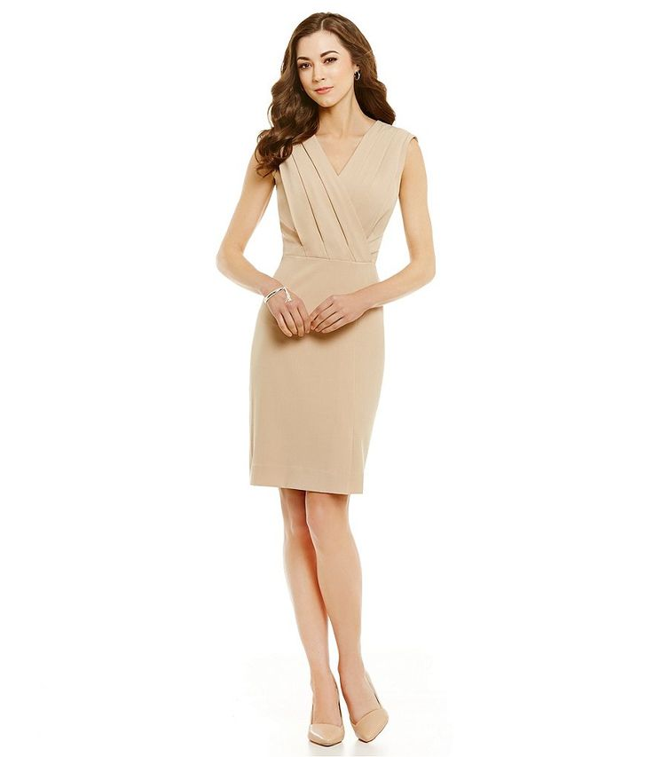 Buttercream:Antonio Melani Mazie Crepe Sleeveless V-Neck Sheath Dress