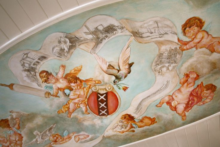 MS Soeverein ceiling painting, three Saint Andrew's Crosses, symbol of Amsterdam