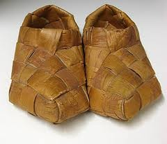 Traditional Finnish shoes, fashioned from birch bark... explains Finnish feet ~