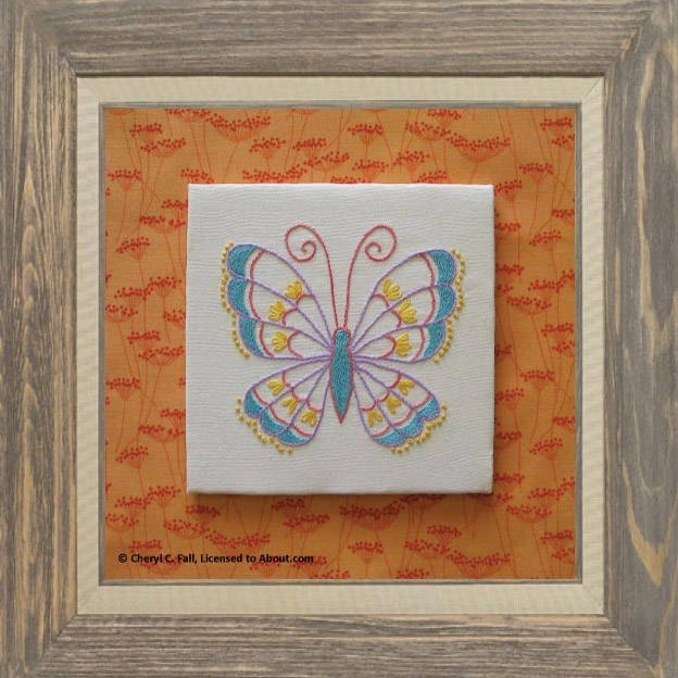 Stem Stitch Butterfly Free Pattern - Butterfly Hand Embroidery